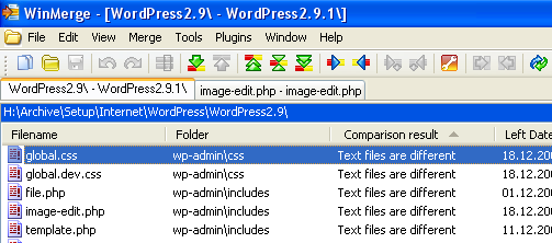 WinMerge-WordPress 2.9.1