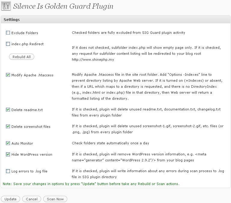 Silence is Golden Guard Settings page