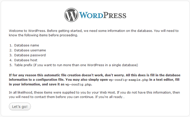 WordPress 3 install DB information request