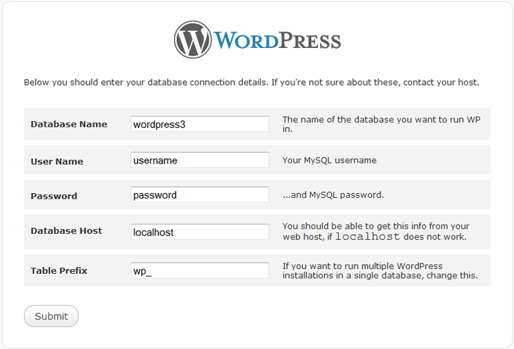 WordPress 3 install DB Information input