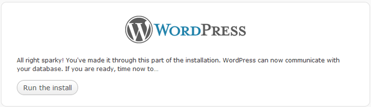 WordPress 3 install configuration successful