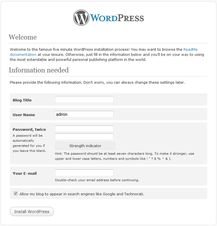 WordPress 3 install step 1