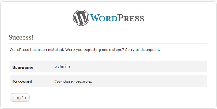 WordPress 3 install success