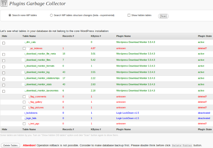 Plugins Garbage Collector in action