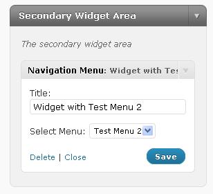 Configured navigation menu widget