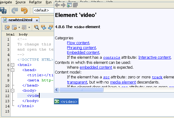 NetBeans IDE 7 HTML 5 Completion