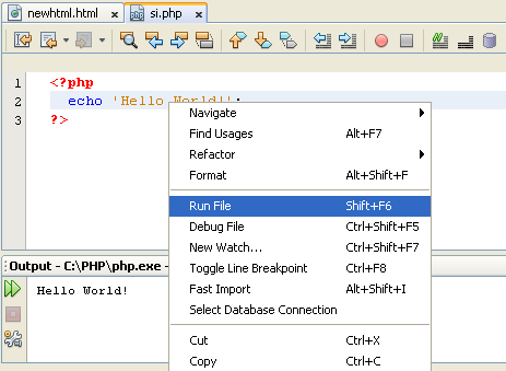 NetBeans IDE 7.0 run PHP file without project