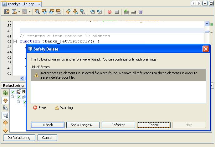 NetBeans IDE 7 Refactoring Safely delete