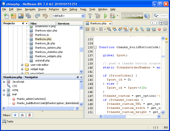 NetBeans IDE 7.0 M2 general view