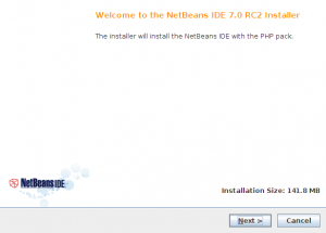 NetBeans IDE 7.0 RC2 installer step 1