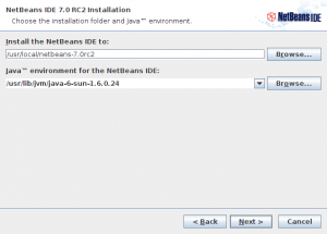 NetBeans IDE 7.0 RC2 installer step 3