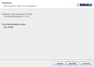 NetBeans IDE 7.0 RC2 installer step 4