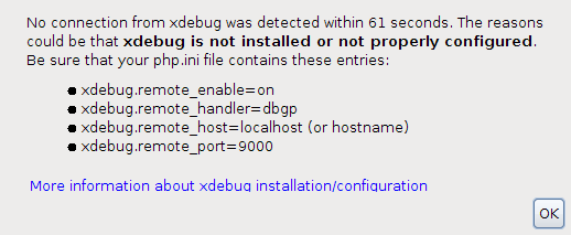 XDebug is not installed