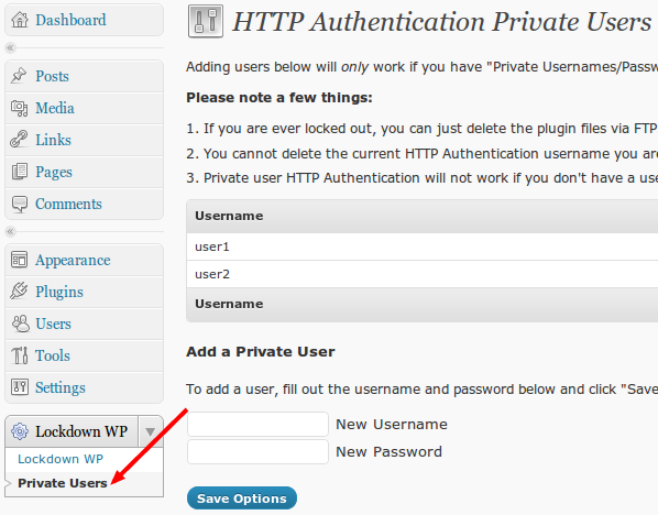 Lockdown WP admin private users