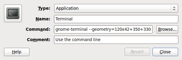 Gnome Terminal Launch Properties