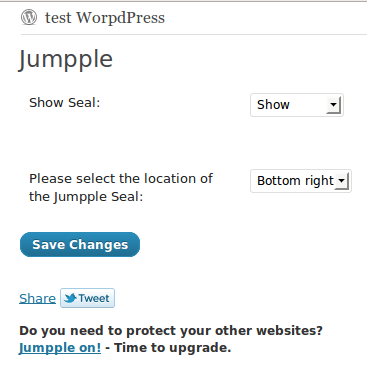 Jumpple WordPress plugin badge settings