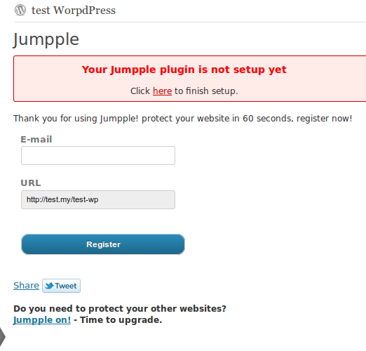 Jumpple WordPress plugin register form