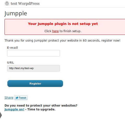 Jumpple WordPress plugin register form