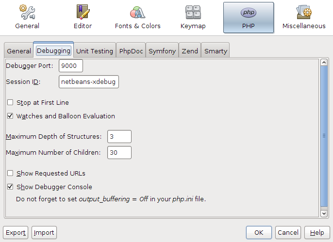 NetBeans 7.1 Beta PHP debugger options dialog