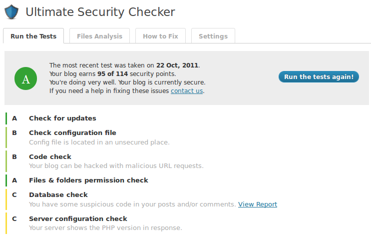 Ultimate Security Checker - test result with A grade