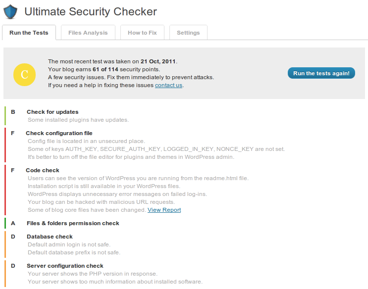Ultimate Security Checker test result - grade C