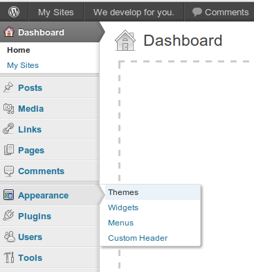 WordPress 3.3 dashboard popup menu