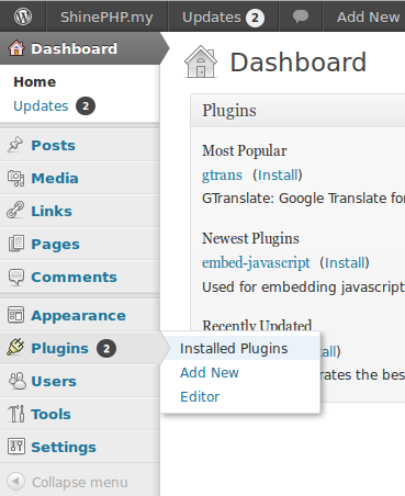 WordPress Plugins installed plugins menu
