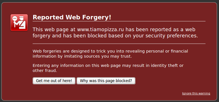 FireFox web forgery report