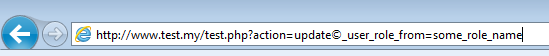IE copyright sign from javascript in URL