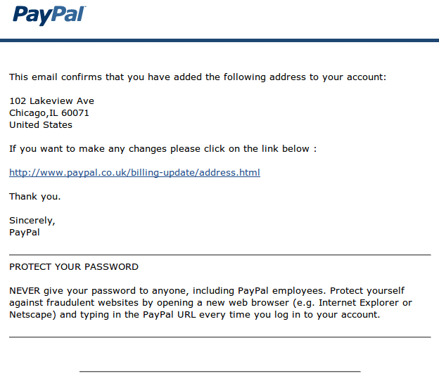 Phishing e-mail content