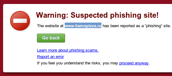 Phishing site warning in Google Chrome