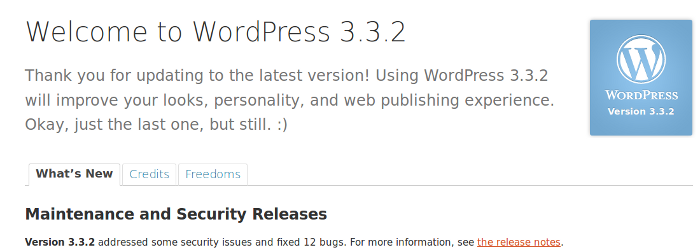 wordpress 3.3.2 Welcome page