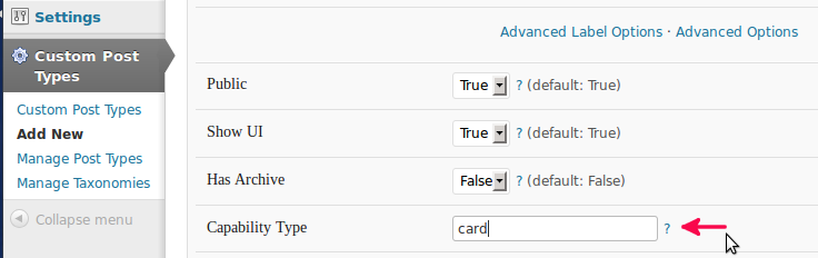 Custom post type UI advanced options
