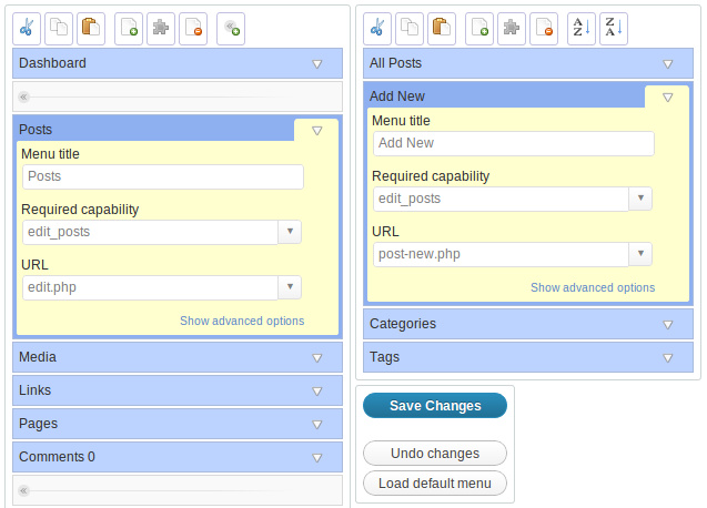 Admin Menu Editor menu item properties