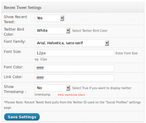 Social Toolbar Free - Twitter settings